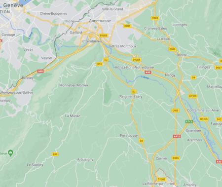 Villes française proches Suisse - Genève